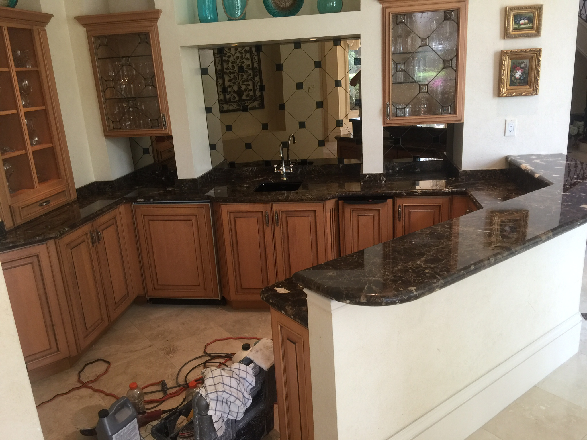 After Grind And Polish Marble Countertop
